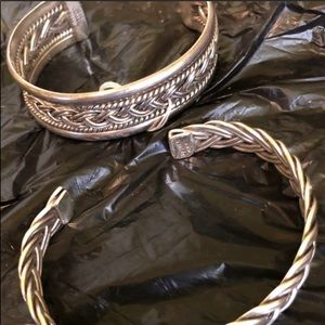 2 sterling silver braided cuff bracelet 925 Mexico